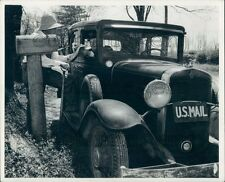 US Mail Carrier Delivering With Vintage Chevrolet Auto Press Photo