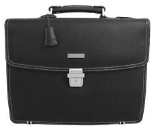 Brooks Borthers Mens Briefcase Attache Padded Black Leather Laptop Bag OS 8301-6