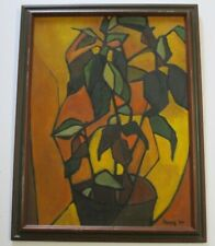 HENRY 1950'S PAINTING MID CENTURY MODERN CUBIST CUBISM ABSTRACT EXPRESSIONISM