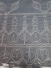 Nicole Miller CHAMBRAY Denim Blue White Embroidered Floral Duvet Set - Queen