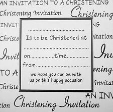 White Christening Invitations x10  (Script Style)    NEW   11423