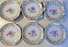 12 Schwarzenhammer, Bavaria,Germany Reticulated, Gold Rim, 10 Inch Floral Plates