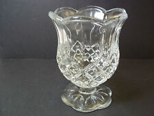 "Homco vintage diamond pattern glass tulip stemmed candle votive holder 4"" tall"