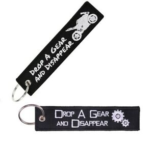Drop A Gear Disappear Keychain Black Key Ring Tag for Motorcycle Car Scooter