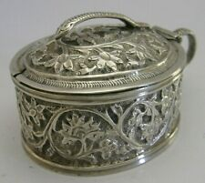 BEAUTIFUL ANGLO INDIAN SOLID SILVER SNAKE MUSTARD POT c1890 ANTIQUE