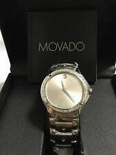 New Men's Movado se Silver dial 0605789 0.70ct.apx.custom set real Diamond Watch
