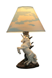 White Rearing Unicorn Table Lamp with Cloud Print Shade