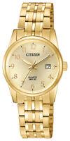 Citizen Quartz Women's Gold Tone Calendar Window Bracelet 27mm Watch EU6002-51Q