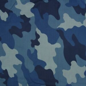FABRIC REMNANT OFF CUT 142cms x 50cms  100% COTTON BLUE CAMOUFLAGE PATCHWORK