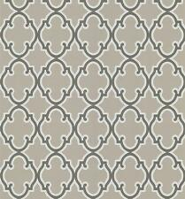 Wallpaper Designer Taupe and Cream with Brown Trellis