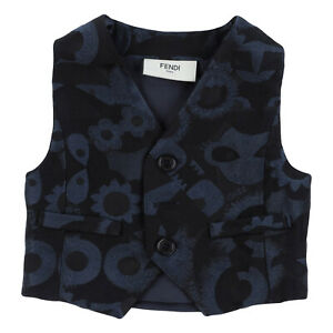 FENDI ROMA Jacquard Waistcoat Size 3M Fully Lined Button Front Made in Italy