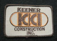 "KEENER CONSTRUCTION EMBROIDERED SEW ON PATCH~KKI~ ADVERTISING 3 7/8"" x 2 1/2"""