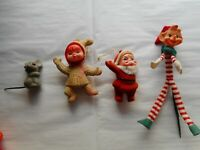 Lot of 4 Vintage Flocked Christmas Ornaments Decorations Elf Pick Santa Mouse