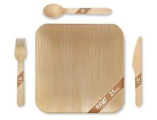 More details for 100pcs foogo green disposable palm leaf plates+ wooden cutlery set |eco-friendly