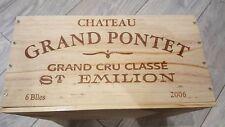 CHATEAU pontet ST EMILION 6 bottiglia francese in legno vino CRATE BOX ostacolare Storage