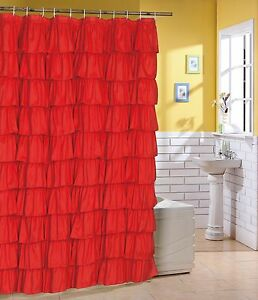 Flamenco tiered ruffle shower curtain bath