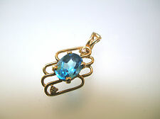 Real Blue Topaz with 2 little diamons enhancer pendant 14k gold good quality