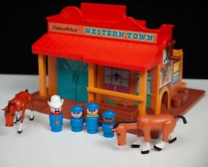 Fisher Price Western Town Horses Sheriff Figures Toys Play Set Vintage 1982 80s