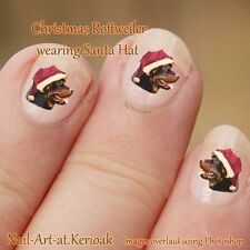 CHRISTMAS ROTTWEILER, Santa Hat Dog Nail Art Stickers, gift, stocking filler