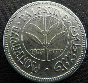1927 British Palestine Fifty 50 Mils 0.720 Silver Coin