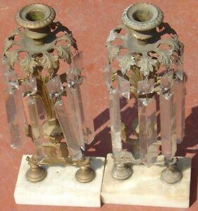 Antique Brass Marble GIRANDOLE Pair Candle Stick Holders Fish Sea Serpent Animal