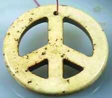 34mm Yellow Turquoise Peace Sign Filigree Pendant