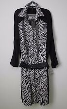BCBGMAXAZRIA Black and White Cotton Shirt Dress with Belt - Size S