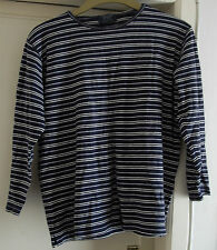 Ladies River Island long sleeve navy & white top size large