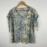Damart Womens Top 22 Plus Multicoloured Leaves V-Neck Flutter Short Sleeve