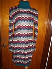 Victoria's Secret Moda International Zig Zag Turtleneck Ribbed Sweater Dress S