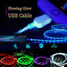 LED flowing Light Up USB Sync Charger Data Cable Charging Cord for Samsung iPhon