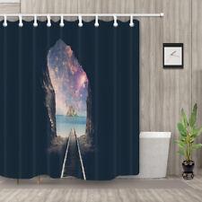 Railroad Tracks To Mysterious Island Shower Curtain Bathroom Waterproof Decor