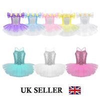 UK Girls Ballet Tutu Dance Dress Kids Leotard Skrt Dance Ballerina Swan Costume