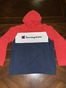 Champion Authentic Wear Youth Size Large Hoodie Red White Blue Pullover