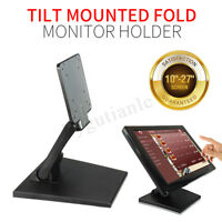 """Folding Desk Mount Monitor Holder Stand 10-27"""" Computer LCD Touch Screen Bracket"""