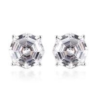 LUSTRO STELLA 925 Sterling Silver Cubic Zirconia CZ Stud Earrings Gift Ct 5.6