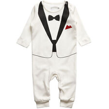Baby Boys Jumpsuit Romper Newborn Kid Bodysuit Formal Tuxedo Suit Infant Outfits