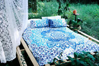 Indian Cotton Mandala Blue Single Size Bed Quilt Duvet Doona Cover Dorm Blanket