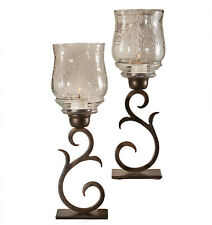 "Candle Holders - ""Santa Fe"" Hurricane Candle Holder Pair - Bronze Finish"