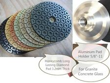 "5"" Diamond 3.2mm Thick Abrasive Polishing 21 Pad 2 Aluminum Backer Granite stone"