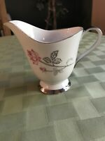 "SEYEI Fine China ""Enchantment"" Creamer Rose & Silver # 1567 Made in Nagoya Japan"