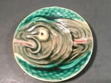 RARE Antique Majolica Butter Pat Fish Head with Scales c.1800's