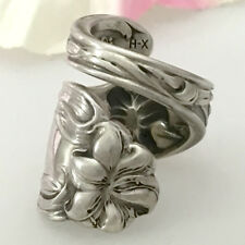 Sterling Silver LILY Floral HTF Spoon Ring TigerLily Silverware Jewelry,Sz 7-12