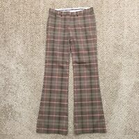 The Limited Drew Fit Size 0 Brown/Orange Plaid Bootcut Career Dress Pants