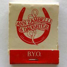 Ann Zambelli & Daughter Restaurant 5 Horne Elsternwick 5238365 Matchbook (MK23)