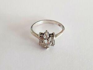 925 Sterling Silver Vintage CZ Flower Cluster Ring Size M