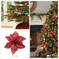 100xArtificial Santa Christmas Flower Xmas Tree Hanging Ornaments Festival Decor