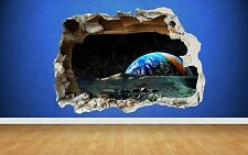 Space Wall Sticker Earth Moon Smashed Wall Full Colour art decal boys bedroom