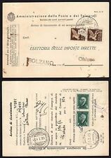 STORIA POSTALE RSI 1945 AR Assegno Postale da Chiusa a Funes (FS2)