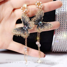 Fashion Embroidery Butterfly Crystal Long Tassel Drop Dangle Earrings Jewelry FS